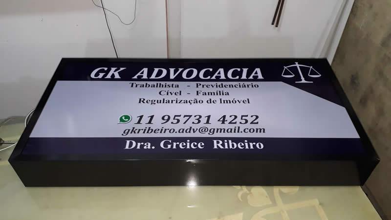 Luminoso com Acrílico Frontal e Iluminação Interna - GK Advocacia